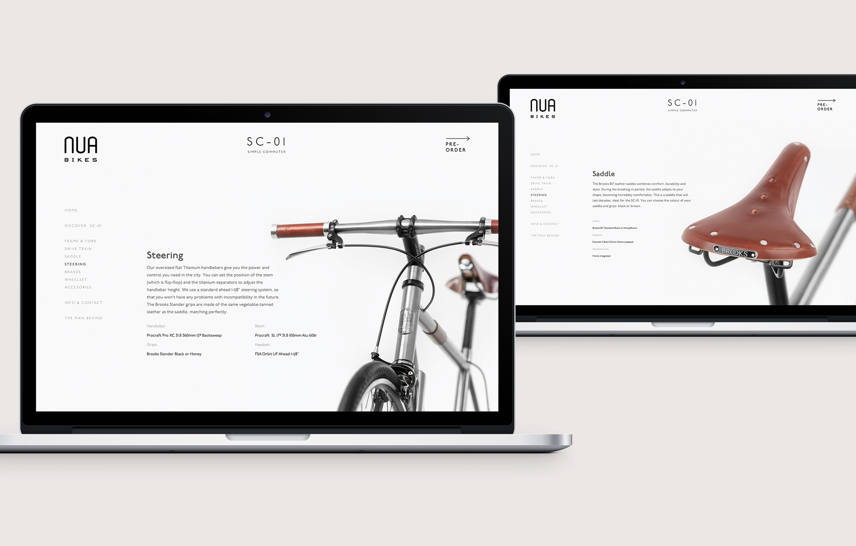 Nua Bikes Web Design Product Page